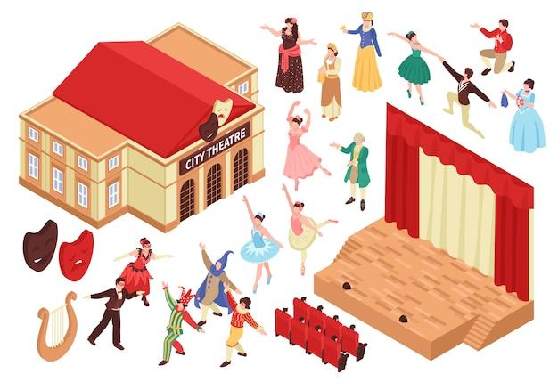 Conjunto de teatro de ópera isométrico com s isolados de assentos de palco de construção de teatro e personagens de artistas