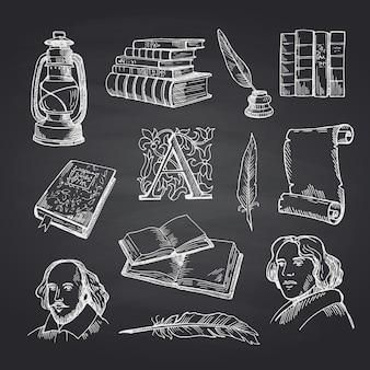 Conjunto de teatro desenhado à mão na lousa preta