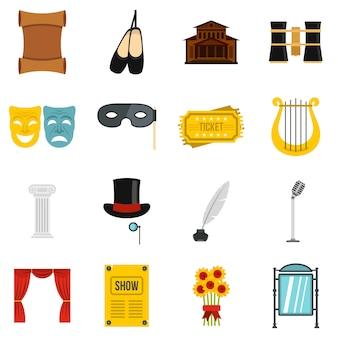 Conjunto de teatro ícones planas