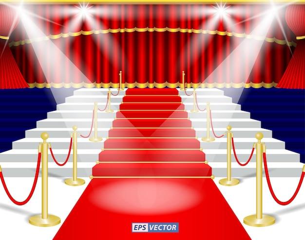 Conjunto de teatro vermelho realista ou palco de cortina cega vermelha de cortina ou fundo de teatro vermelho illustrati