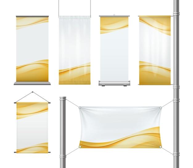 Conjunto de tecido em branco ou rolo de publicidade em papel