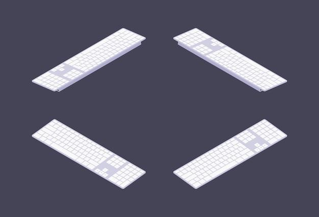 Conjunto de teclados de pc brancos isométricos