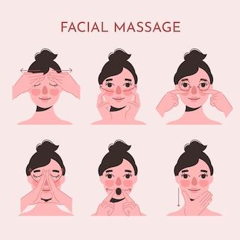 Conjunto de técnicas de massagem facial desenhada à mão