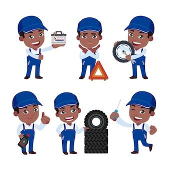 Conjunto de técnico com diferentes poses
