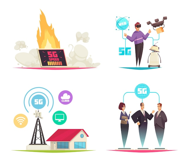 Conjunto de tecnologia da internet de desenhos animados sobre a quinta geração de comunicações móveis