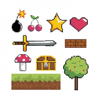 Conjunto de tecnologia de cena gráfica de videogame pixelizada