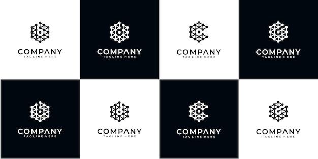 Conjunto de tecnologia de design de logotipo de monograma abstrato criativo. logotipos para negócios de luxo, elegantes e simples. letra b, letra c, letra d e letra g.