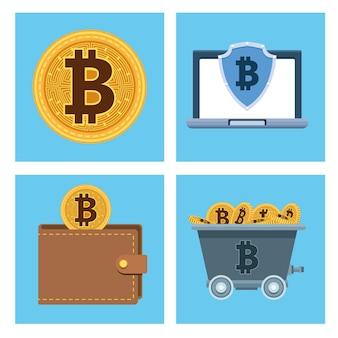 Conjunto de tecnologia de dinheiro cibernético bitcoins ícones ilustração vetorial design