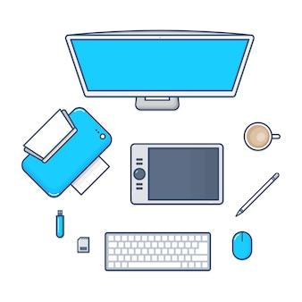 Conjunto de tecnologia de mesa com computador pc, impressora, caneta mouse, teclado, flashdrive, cartão sd ícones de design de linha plana. ilustração.
