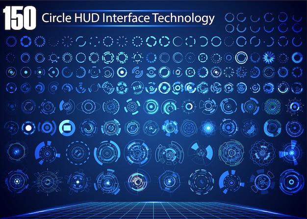 Conjunto de tecnologia digital abstrata de círculo