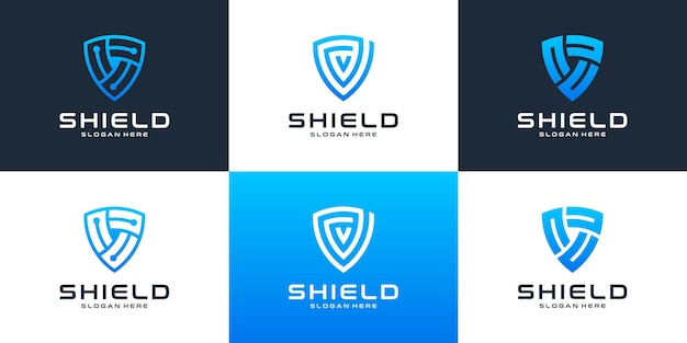Conjunto de tecnologia moderna com modelo de design de logotipo de escudo.