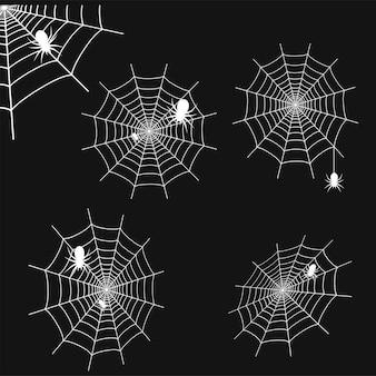 Conjunto de teia de aranha branca com aranhas em fundo preto. teia de aranha. vetor.