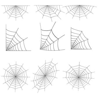 Conjunto de teia de aranha da web isolado no branco. vetor.