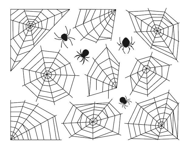 Conjunto de teia de aranha e aranha de halloween doodle decoração perigosa de teia de aranhas assustadoras
