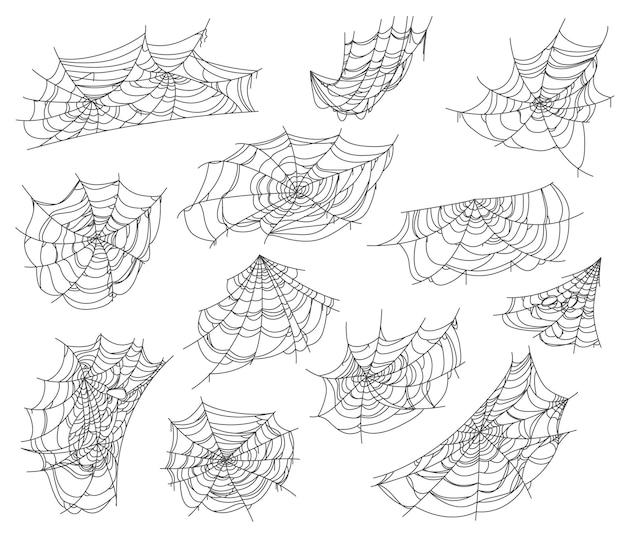 Conjunto de teia de aranha isolada e redes de teia de aranha para halloween