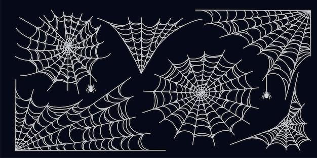 Conjunto de teia de aranha isolado em fundo escuro teias de aranha assustadoras de halloween com aranhas