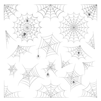 Conjunto de teia de aranha, teia de aranha para decoração de halloween, coleção isolada no fundo branco. teias de aranha assustadoras, aranhas