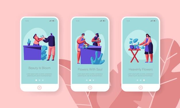 Conjunto de tela a bordo da página do aplicativo móvel da loja de flores.