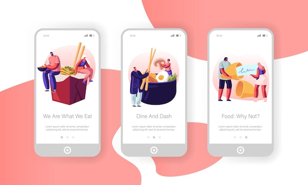 Conjunto de tela a bordo da página do aplicativo móvel de comida asiática.