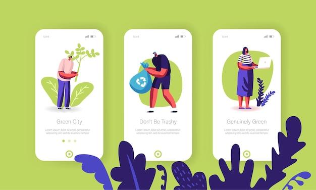 Conjunto de tela a bordo da página do aplicativo móvel de proteção ecológica