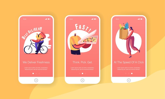 Conjunto de tela a bordo da página do aplicativo móvel do serviço de compra e entrega online.