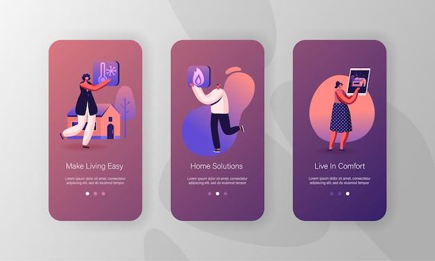 Conjunto de tela a bordo da página do aplicativo móvel smart house. Vetor Premium