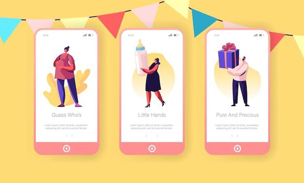 Conjunto de tela a bordo do aplicativo móvel do bebê chuveiro evento página.