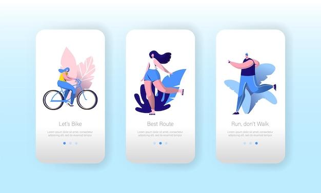 Conjunto de tela a bordo do aplicativo móvel estilo de vida do esporte urbano urbano.