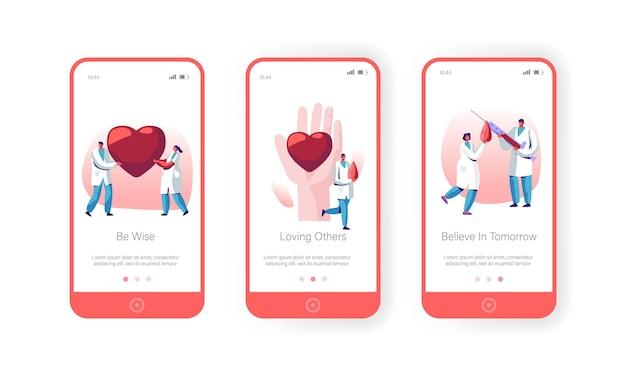Conjunto de tela a bordo do aplicativo móvel para doação de sangue