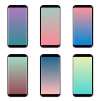 Conjunto de tela colorida do telefone móvel.
