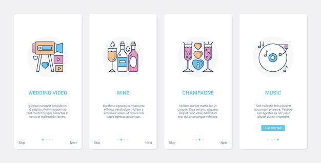 Conjunto de tela de aplicativo móvel para festa de celebração de casamento e banquete ui ux