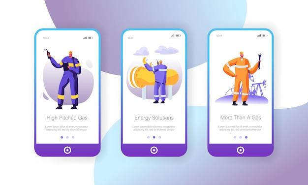 Conjunto de tela de bordo do aplicativo móvel da indústria de gás