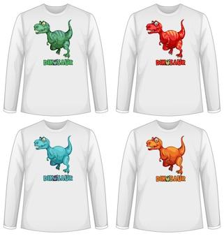 Conjunto de tela de dinossauro em cores diferentes em camiseta de manga longa