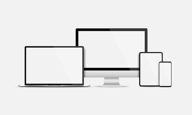 Conjunto de tela de exibição de dispositivos eletrônicos realistas. tela em branco do computador, laptop, tablet e smartphone isolado. ilustração vetorial eps 10