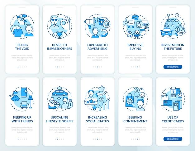 Conjunto de tela de página de aplicativo móvel de integração de consumismo azul. motivos de compra excessivos, instruções gráficas de 5 etapas com conceitos. modelo de vetor ui, ux e gui com ilustrações coloridas lineares