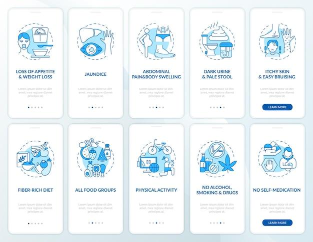 Conjunto de tela de página de aplicativo móvel de integração de saúde hepática