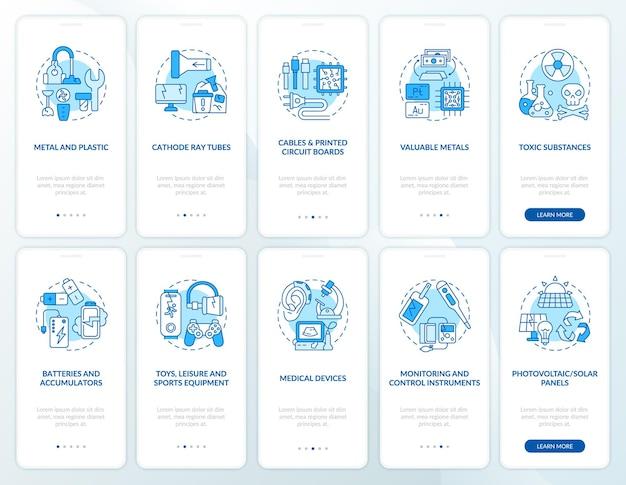 Conjunto de tela de página de aplicativo móvel para reciclagem de lixo eletrônico