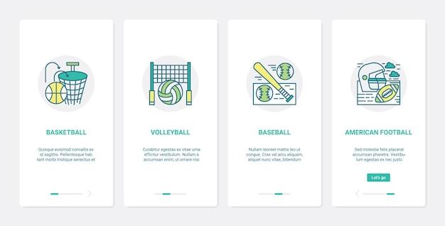 Conjunto de tela do aplicativo móvel equipamento esportivo basquete vôlei rugby beisebol ux ui