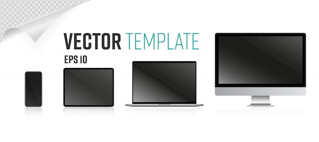 Conjunto de tela do dispositivo. laptop em branco realista