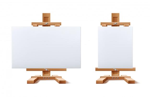 Conjunto de tela em branco de cavalete de madeira realista