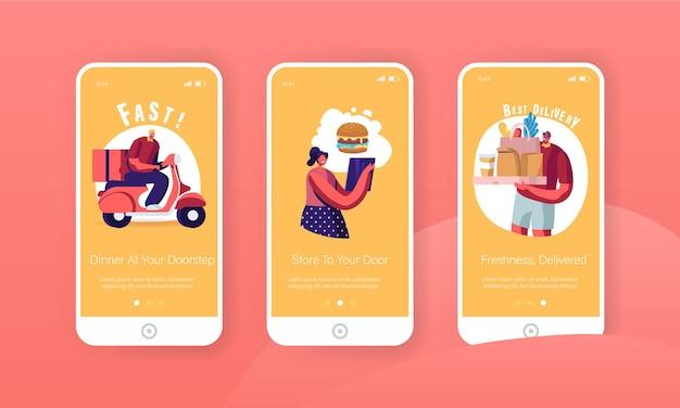 Conjunto de tela integrada da página do aplicativo móvel de entrega expressa.