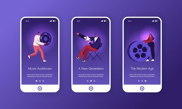Conjunto de tela integrada da página do aplicativo móvel do processo de produção de filme.