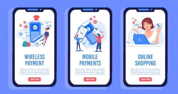 Conjunto de tela móvel a bordo de serviços de loja online