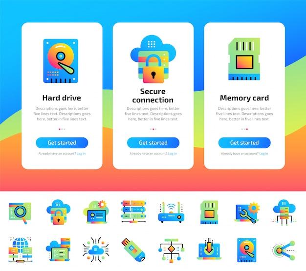 Conjunto de telas de aplicativos de computação de dados, tecnologia da internet e conjunto de ilustrações seguras para dados.