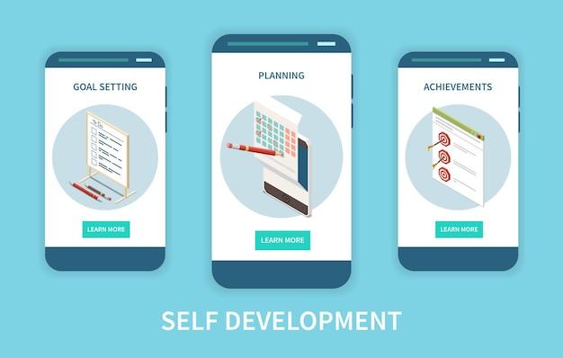 Conjunto de telas de aplicativos de crescimento pessoal