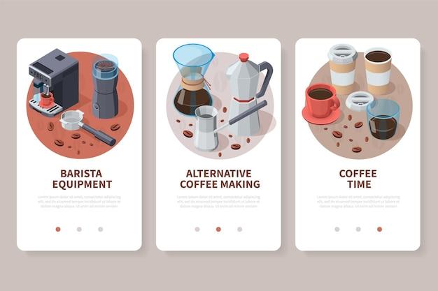 Conjunto de telas de aplicativos de equipamentos de café para baristas profissionais