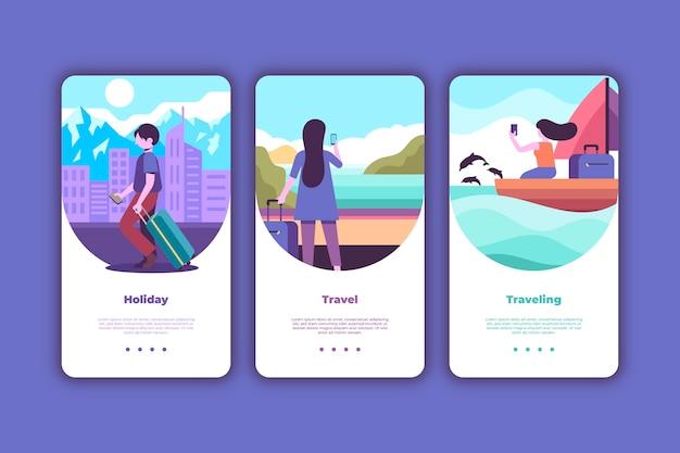 Conjunto de telas de aplicativos de integração de viagens