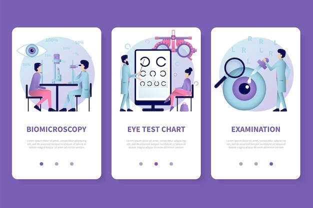 Conjunto de telas de aplicativos de oftalmologia