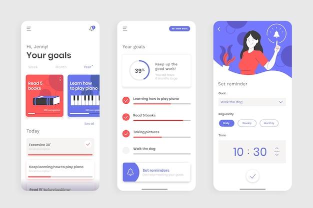 Conjunto de telas de aplicativos de rastreamento de metas e hábitos