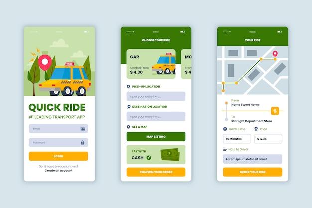 Conjunto de telas de aplicativos de transporte público
